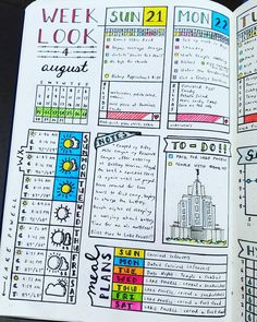 "320 Likes, 17 Comments - Micah (@my_blue_sky_design) on Instagram: ""Daily Spread - August 2016 Week 4 #bujojunkies #bujo #bulletjournal #bullet #journaling #journal…"""