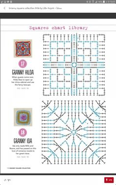 from Granny square collection 2016 Crochet Motif Patterns, Granny Square Crochet Pattern, Crochet Blocks, Crochet Diagram, Square Patterns, Crochet Chart, Crochet Squares, Grannies Crochet, Crochet Doilies