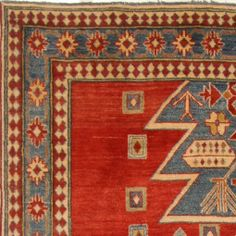 "Pakistani Kazak Wool Red Rectangle Area Rug (5'8"" x 9'2"") - 250-16565"