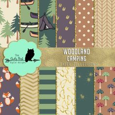 Woodland Digital Paper Pack  Camping Digital Paper  by TheOwlsPost