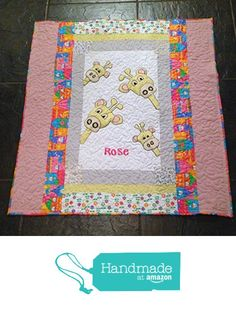 Baby Giraffe Quilt,Monogrammed baby quilt ,baby blanket ,personalized quilt,Pink,Yellow,White,Fun,Playful ,Girl quilt from SewInLovers http://www.amazon.com/dp/B016LF1JUW/ref=hnd_sw_r_pi_dp_Ioviwb164P7ZS #handmadeatamazon