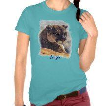 Mountain Lion, Big Cat Cougar Portrait on TShirt