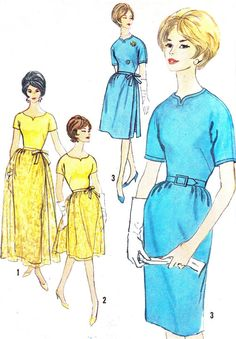 Dress Pattern Simplicity 4175 Kimono Sleeve Day or Evening Sheath Dress with Full Overskirt Womens Vintage Sewing Pattern Bust 36 60s Patterns, Vintage Dress Patterns, Vintage Dresses, Vintage Style, Vintage Fashion, Sheath Dress, Beautiful Dresses, 1960s, Kimono