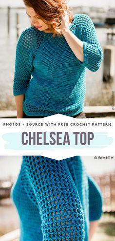 Mesh Spring Sweaters Free Crochet Patterns Chelsea Top Free Crochet Pattern Learn th T-shirt Au Crochet, Cardigan Au Crochet, Crochet Tunic Pattern, Pull Crochet, Gilet Crochet, Mode Crochet, Crochet Shirt, Crochet Woman, Crochet Stitches