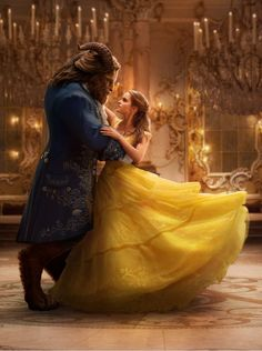 Emma Watson as Belle and Dan Stevens as the Beast during their iconic dance scene from Disney's Beauty and the Beast, in theaters March 17, 2017.