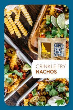 Put together this one pan wonder for an easy dinner. Grown In Idaho Super Crispy Fries are topped and loaded with beans, cheese, corn, jalapenos and more for Sheet Pan Mexican Style Fry Nachos! Recipe by @brewhap #LoadedFries #FryNachos #FamilyDinner Crinkle Fries, Healthy Junk, Game Day Appetizers, Mexican Cheese, Fire Roasted Tomatoes, Mexican Style, Easy Dinners, Nachos, Idaho