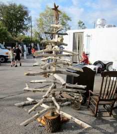 This is a unique idea for a DIY Christmas Tree. I spotted the tree at the Nashville Flea Market. It is definitely rustic and manly, but unique and fun too.