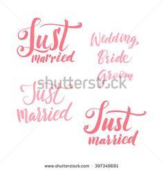 stock-vector-vector-wedding-calligraphy-inscription-set-just-married-wedding-bride-groom-the-red-lettering-397348681.jpg (450×470)