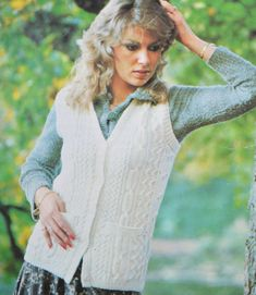 Vintage knitting pattern aran cable waistcoat by TheVintageWorkbox