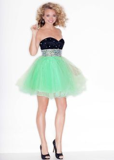 Buy now Sticks and Stones Mori Lee 9203 black and green strapless short prom dresses #RissyRoosProm