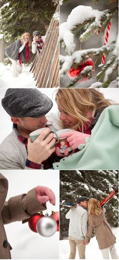 Love the use of cocoa and ornaments for winter couples photos.