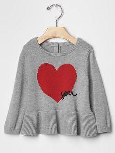 Intarsia heart peplum sweater Product Image