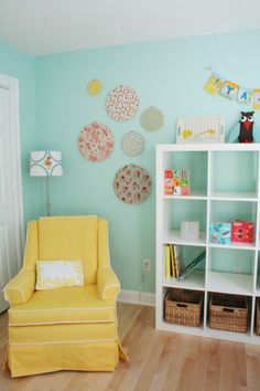 Nursery design idea light turquoise for the wall and yellow armchair Kids Room Design, Nursery Design, Yellow Armchair, Stained Glass Lamps, Beautiful Color Combinations, Kid Beds, Great Pictures, Rum, Bookcase