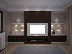 3D illusrtation of TV unit with shelves and backlight