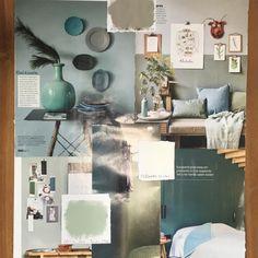 Ook een leuke manier van je kleuren kiezen is door het maken van een moodboard. Zoals in dit voorbeeld met de o.a. de Flexa kleur Authentic Gray Home And Living, Living Room, Interior Decorating, Interior Design, Color Inspiration, Home Office, Master Bedroom, Sweet Home, Gallery Wall