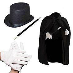 "Child's Halloween Magician Role Play Dress up Costume Set - Magician's Cape Felt Top Hat Pair of White Magician Gloves 12"" Magic Wand Prextex http://smile.amazon.com/dp/B012U4MM7C/ref=cm_sw_r_pi_dp_9Ucnwb0EKVE8N"
