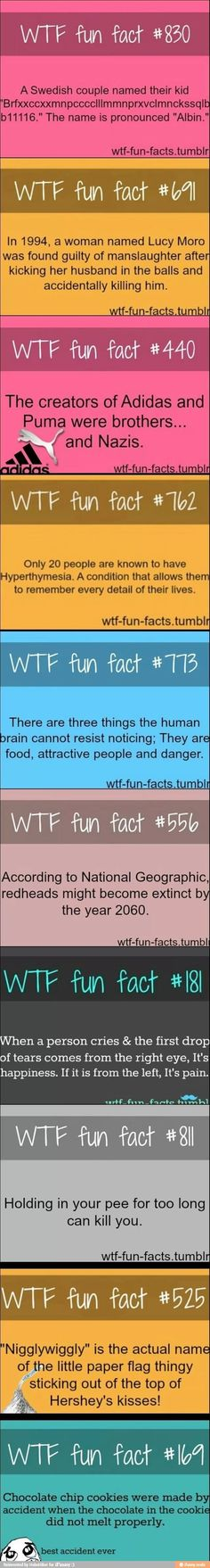 Fun facts....don't like the red-head part though...get to producing folks!! lmao