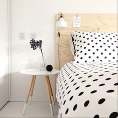 polka dot bedding and diy bed head
