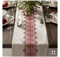 Diy Crafts - This casual, understated table runner accents the table with natural materials and embroidery inspired by Scandinavian folk art. Cross Stitch Geometric, Cross Stitch Borders, Cross Stitch Designs, Cross Stitch Patterns, Folk Embroidery, Christmas Embroidery, Cross Stitch Embroidery, Embroidery Designs, Hand Embroidery Patterns