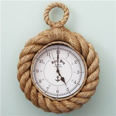 Know Your Ropes Wall Clock. I thought this would be a cute idea for either the sailboat themed pool room or your bedroom if you go the navy route.