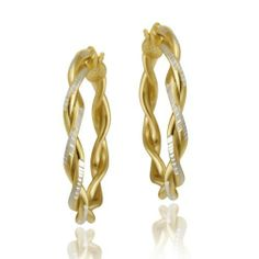 18K Gold over Sterling Silver Two-Tone 30mm Twist Hoop Earrings SilverSpeck.com. $19.99