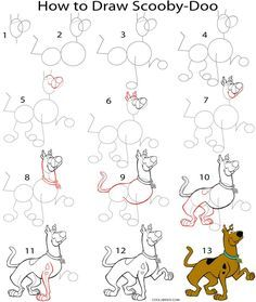 Cartoon Drawing How to Draw Scooby Doo Step by Step Drawing Tutorial with Pictures Drawing Cartoon Characters, Character Drawing, Cartoon Drawings, Animal Drawings, Pencil Drawings, Cartoon Illustrations, Drawing Animals, Disney Characters, Doodle Drawings