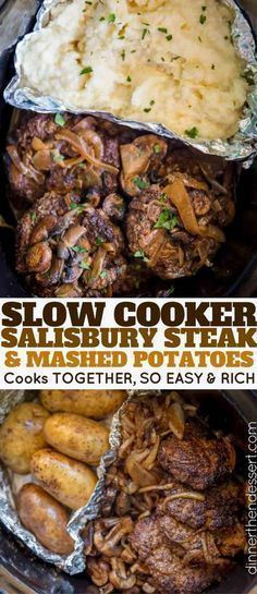 Slow Cooker Salisbury Steak and Mashed Potatoes in a SINGLE slow cooker with mas. Slow Cooker Salisbury Steak and Mashed Potatoes in a SINGLE slow cooker with mashed potatoes, rich gravy, mushrooms and onions over tender beef patties. Crock Pot Recipes, Beef Recipes, Cooking Recipes, Slow Cooker Hamburger Recipes, Crockpot Steak Recipes, Crock Pots, Top Recipes, Slow Cooker Meals Healthy, Hamburger Steak And Gravy