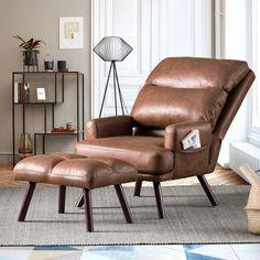 Fabric Ottoman, Chair And Ottoman, Armchair, Leather Recliner Chair, Leather Chairs, Leather Sectional, Sofa Chair, Eames, Sleeper Chair