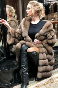 Fur Fashion, Winter Fashion, Womens Fashion, Sexy Boots, Black Boots, Sable Fur Coat, Fur Jacket, Style Guides, Leather Boots