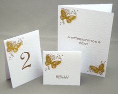 Table Number, Menu and Name Cards in new vintage floral butterfly design in Gold Shimmer. https://www.profiletree.com/tina-harknett  #wedding, #stationery, #plans, #cards, #invitations