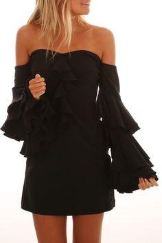 Eden Shoulder Dress Black
