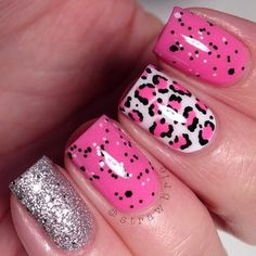 """Loreal glitter topper (Color Riche """"Confetti's""""). I put it over BC Shade 1 (the pink creme) & I did some leopard over OPI """"Alpine Snow"""".... Pinky is Isadora """"Diamond Crush""""."""