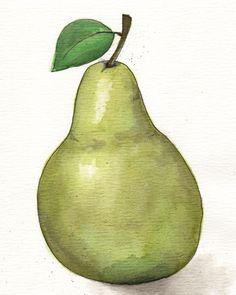 Poire giclée PRINT Original aquarelle peinture par TeacupArtStudio