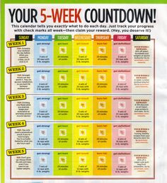 5-week workout plan.  Rules:  1. Exercise at least 5 days a week, for 25 minutes. That's easy!  2. Eat 5 times a day (fresh food over junk!).  3. Find 5 new ways to be active every week.