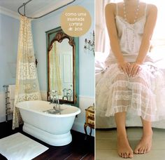 Lace to give charm to the bathroom.