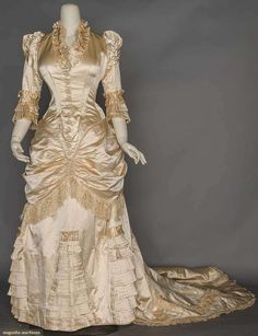 Candlelight Satin Wedding Gown, 1880s, Augusta Auctions, November 11, 2015 NYC