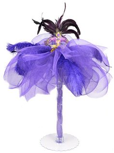 Masquerade Mask centerpiece with feathers
