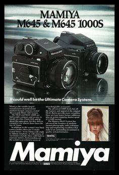 Mamiya Cameras M645, M645 1000S 1977 AD Photography Camera Equipment Advertising