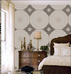 Stencil Wall Circles Ovals Flower Pattern Wall Room Decor Made by OMG Stencils Home Improvements Color Paintings 0200 Wallpaper Stencil, Brick Wallpaper, Wallpaper Ideas, Stencil Walls, Wall Stenciling, Large Wall Stencil, Wallpaper Decor, Pattern Wall, Wall Patterns