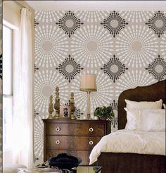 Plantilla círculos óvalos flor patrón pared por OMGstencils en Etsy
