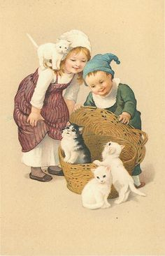 Children with cats