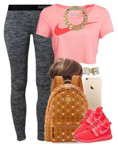 """Coral Nike."" by livelifefreelyy ❤ liked on Polyvore featuring NIKE, MCM, AllSaints and plus size clothing"