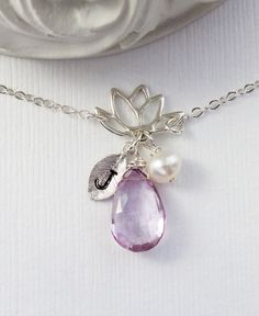 Sterling Silver Personalized Necklace -  Lotus Flower & Pink Mystic Quartz, Custom 1 Initialed Silver Leaf - Bridal or Birthday Gift. $35.50, via Etsy.