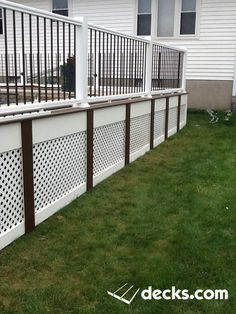 porch deck skirting ideas, deck skirting ideas for uneven ground, deck skirting ideas lattice, inexpensive deck skirting ideas, diy deck skirting ideas Low Deck, Above Ground Pool Decks, In Ground Pools, Lattice Deck, Stone Deck, Deck Skirting, Deck Makeover, Deck Pictures, Deck Railings