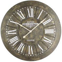 Gray, Beige And White Big Iron Wall Clock With Screen Printing Yosemite Home Decor Wall Mo