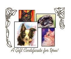 Gift Certificate for Custom Pet Portrait by tinattlg on Etsy, $50.00