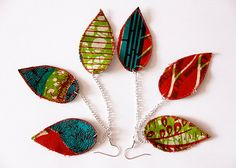 Red green and teal leaf earrings  funky by RenaisyDaisyDesigns, $20.00