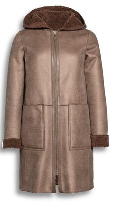 Beaumont Amsterdam reversible coat/jacket.  Suede-leather look can be reversed to a Teddy effect on the other side. Features a hood and zip front fastener. Both sides have two useful front pockets. 7/8 length.