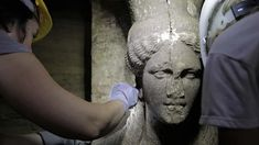 Fever mounts as stunning statues found at ancient Greek tomb. Two statues of a Caryatid inside the Kasta Tumulus in ancient Amphipolis, nothern Greece, September, Archaeological Discoveries, Archaeological Finds, Ancient Tomb, Ancient Artifacts, Ancient Mysteries, Statues, Alexandre Le Grand, Macedonia Greece, Make My Day