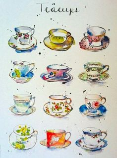 Items similar to Art Print - Vintage Teacups - Kitchen Art - Illustration - China - from Original Ink and Watercolour Illustration on Etsy Tee Kunst, Teacup Tattoo, Sketch Manga, Foto Poster, Guache, Tea Art, Kitchen Art, Watercolor Illustration, Tea Illustration